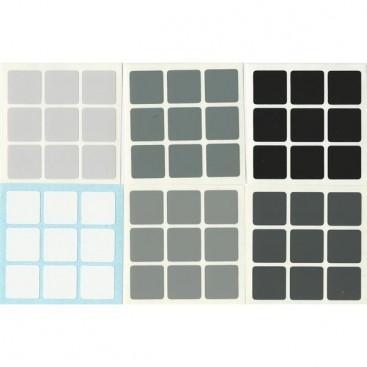 Grey Scale 3x3 Stickers Set. Standard Size