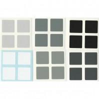 Leste-Sheen 2 x 2 adesivos conjunto de escala de cinza. Substituição do cubo mágico
