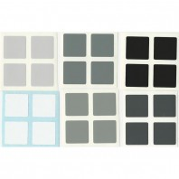 2x2 Stickers Grey Scale Set. Magic Cube Replacement