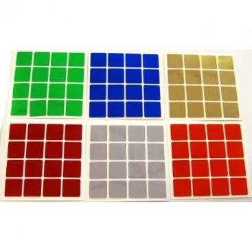 4x4 Stickers Chrome Set. Pegatinas Base Negra