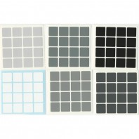 4x4 Stickers Grey Scale Set. Magic Cube Replacement