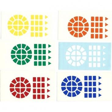 Dayan Wheel of Wisdom Stickers Standard Set. Pegatinas Base Negra