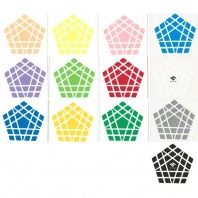 C4U Gigaminx Stickers Standard Set. Pegatinas Base Negra y Blanca
