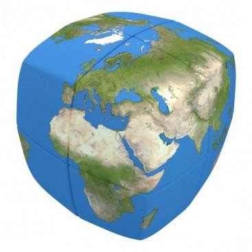 V-Cube 2x2 Earth 2b Pillow. Cubo Brillante 2x2 Tierra