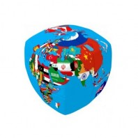 V-Cube 2x2 Cube of Nations 2b Pillow. Glossy Magic Cube
