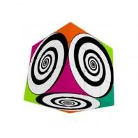 V-Cube 3x3 Funky Spirals 3b Pillow. Glossy Magic Cube