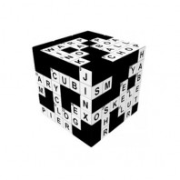 V-Cube 3x3 Crossword 3b Pillow. Glossy Magic Cube