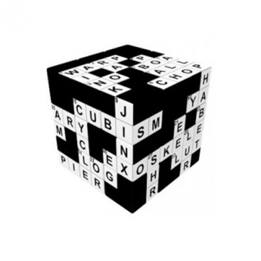 V-Cube 3x3 Crossword 3b Pillow. Cubo Brillante Crucigrama