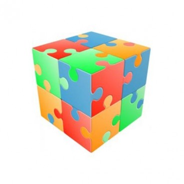 V-Cube 2x2 Jigsaw 2b Pillow. Glossy Magic Cube