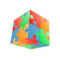 V-Cube 2x2 Jigsaw 2b Pillow. Glossy Magic Cube