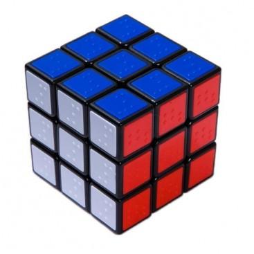 C4U Braille Dice 3x3x3 Magic Cube Tiles. Black Base