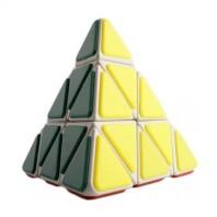 QJ Pyraminx with Tiles Magic Minx. White Base