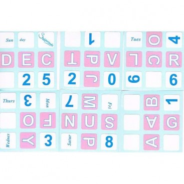 Pink English Calendar 3x3 Stickers. Calendario Inglés