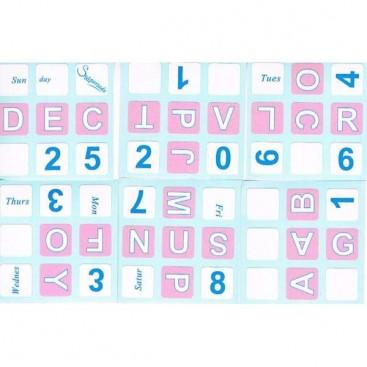 Pink English Calendar 3x3x3 Stickers
