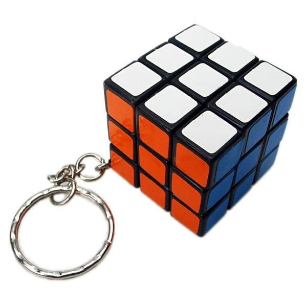 mini 3x3x3 magic cube keychain black base. Black Bedroom Furniture Sets. Home Design Ideas