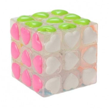 YJ 3x3 Heart Tiles. Transparent Magic Cube