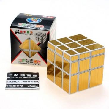 ShengShou Mirror Gold 3x3x3 Magic Cube. White Base