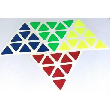 Pyraminx Stickers Standard Set. Pegatinas Base Negra y Blanca