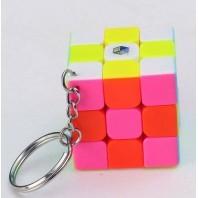 Mini 3x3x3 Magic Cube Keychain. Black Base