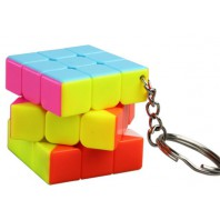 Mini 3x3x3 Magic Cube Keychain. Black Base