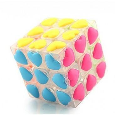 YJ 3x3 Heart Tiles. Transparent Magic Cube