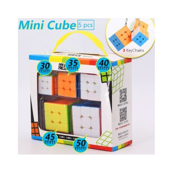 5pcs Set Mini Speed Moyu Magic Cube With Keychain Bundle MF3S 3x3 Stickerless