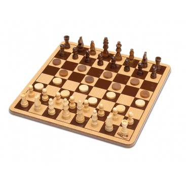 Chess - Wooden Checkers Metal Box