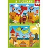 PUZZLE DOBLE 2X48 DRAGONES Y CABALLEROS
