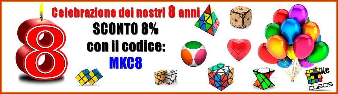 Sconto del 8% con il codice MK8 in tutto il negozio MasKeCubos